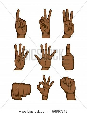 icons set of human hand with gesture expression over white background. colorful design. vector illustration