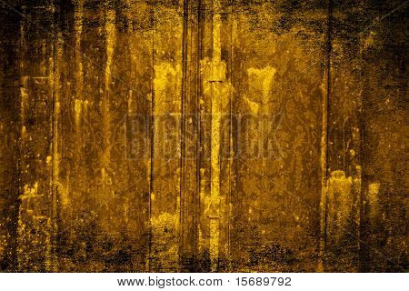 Grungy old Victorian wallpaper in gold poster
