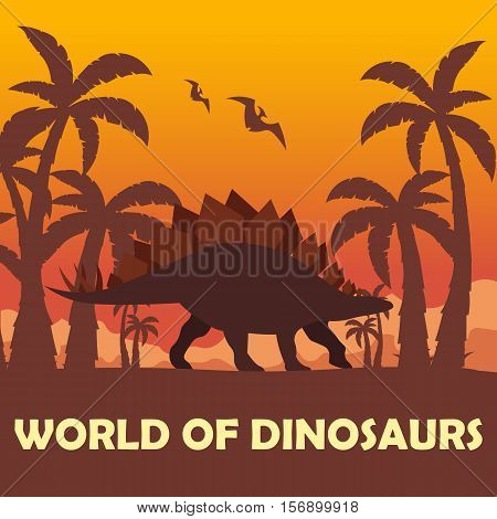 Banner World Of Dinosaurs. Prehistoric World. Stegosaurus. Jurassic Period.