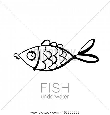 Cute fish underwater. Fish isolated on white background. Vector illustration.