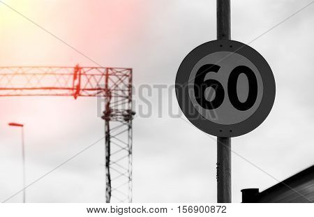 Road Speed Limit Sign With Light Leak Background