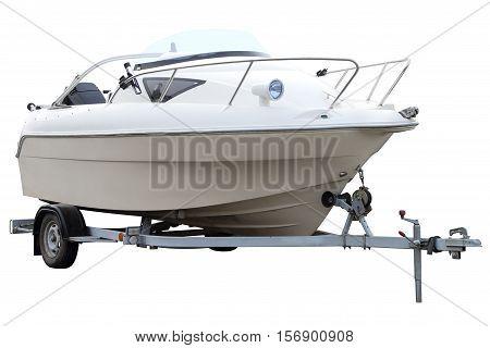 Modern white boat on the trailer for transportation.