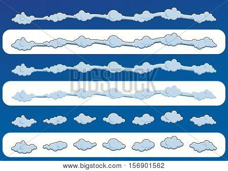 Set ot Cute blue clouds. Vector illustration