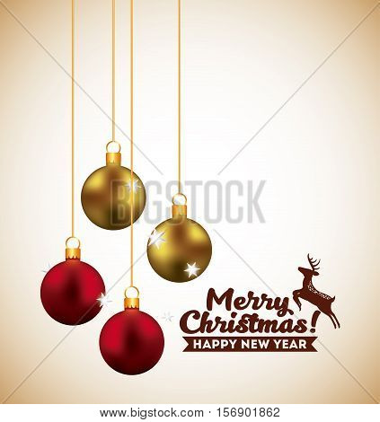merry christmas and happy new year  card with balls hanging and deer decoration icons. colorful design. vector illustration