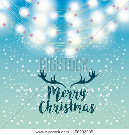 merry christmas card with lights decoration icons. colorful design. vector illustration