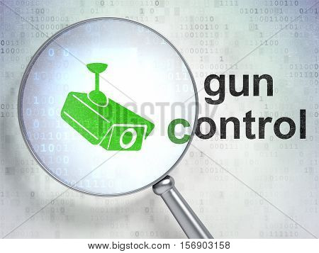 Security concept: magnifying optical glass with Cctv Camera icon and Gun Control word on digital background, 3D rendering