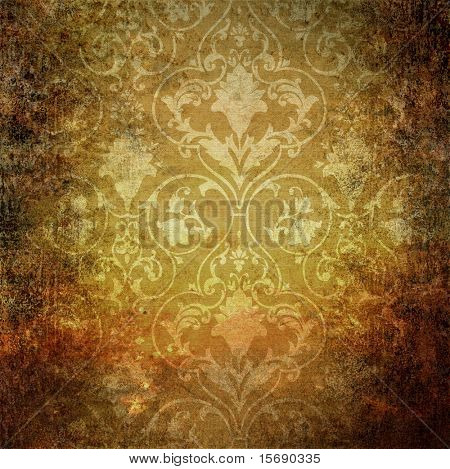 Grungy old vintage wallpaper with victorian print