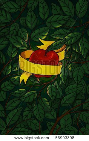 shiny red apple wrapped in yellow ribbon and surrounded by leaves