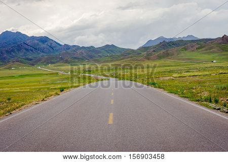 Road At Sayram Lake, China