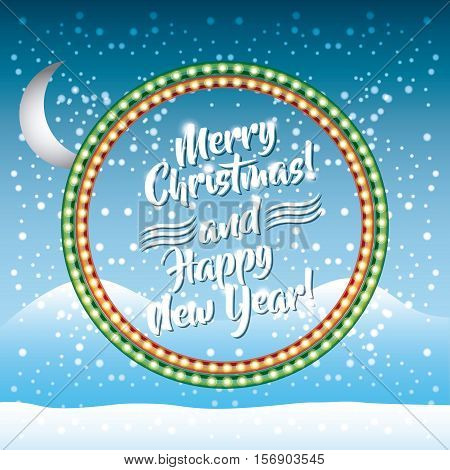 merry christmas and happy new year card with decoration icons over snow landscape background. colorful design. vector illustration