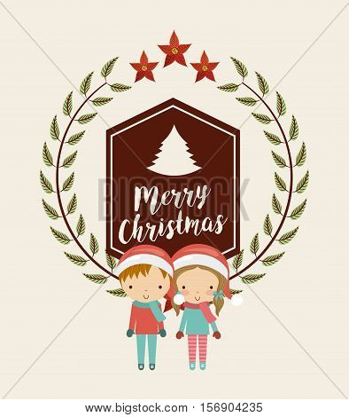 merry christmas card with leaves wreath and cartoon kids decoration icons. colorful design. vector illustration