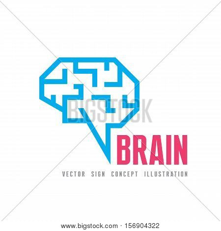 Human brain - vector logo template concept illustration. Geometric mind structure sign. Creative idea symbol. Design element.