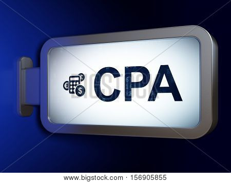 Business concept: CPA and Calculator on advertising billboard background, 3D rendering