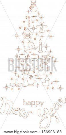 Typography banner with stylized red Christmas tree and hand drawing lettering Happy New Year on white, stock vector illustration