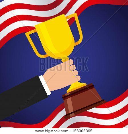 human hand holding a gold trophy over usa flag. colorful design. vector illustration