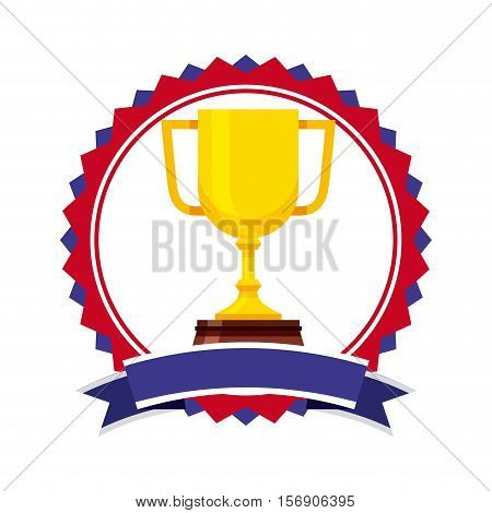 seal stamp with gold trophy icon inside over white background. usa design. vector illustration