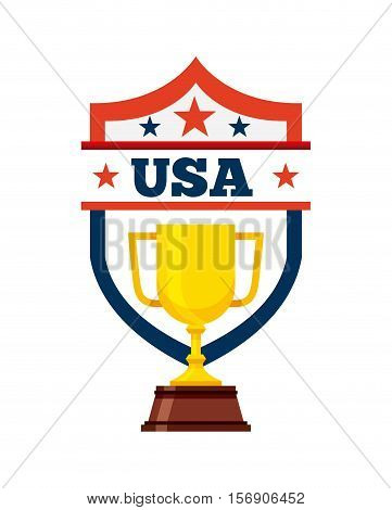 gold trophy of usa concept over white background. colorful design. vector illustration