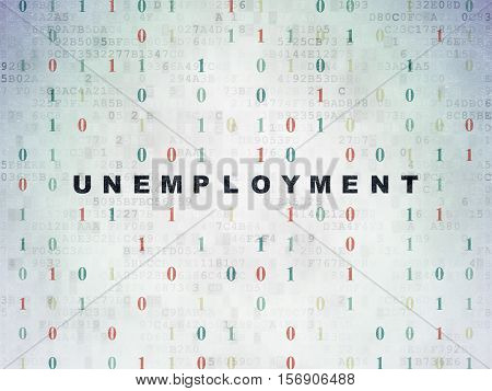 Business concept: Painted black text Unemployment on Digital Data Paper background with Binary Code