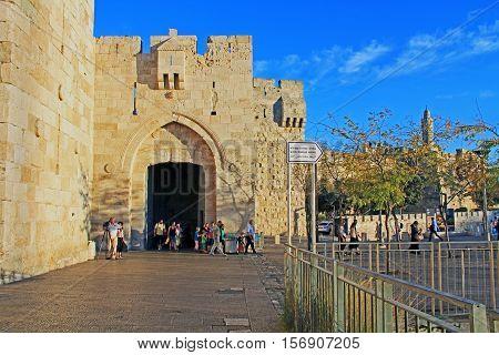 Jerusalem, Israel, October 24, 2013, Exterior view of Jaffa Gate outside the old city wall of Jerusalem, Israel.