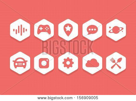 Flat Hexagon icon collection set for website library