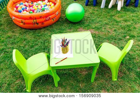 Green Children's Table And Chairs.