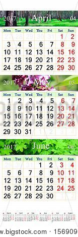 wall calendar for three months April May and June 2017 with pictures of nature. Wall calendar for second quarter 2017