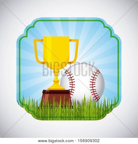gold trophy with baseball ball inside decorative frame. colorful design. vector illustration