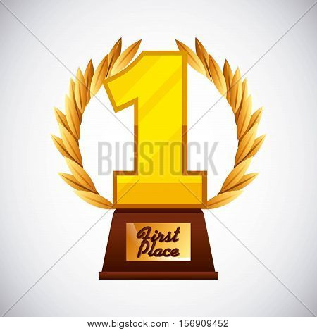 gold trophy in number one shape  icon over white background. vector illustration