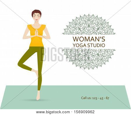 Yoga studio business template with chakra pictogram and attractive young girl practicing tree yoga pose. Vector illustration.