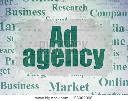 Advertising concept: Painted green text Ad Agency on Digital Data Paper background with   Tag Cloud