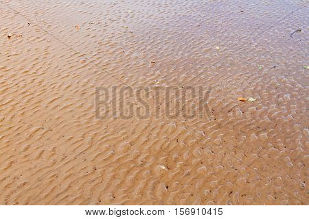 Wavy Sand On The Beach After The Low Tide