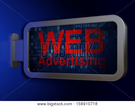 Advertising concept: WEB Advertising on advertising billboard background, 3D rendering