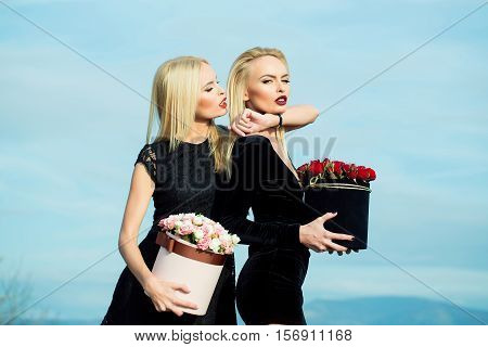 Pretty Girls With Flowers In Box