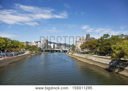 HIROSHIMA, JAPAN - OCTOBER 10, 2016: Hiroshima Peace Memorial in Japan. It was designated a UNESCO World Heritage Site in 1996