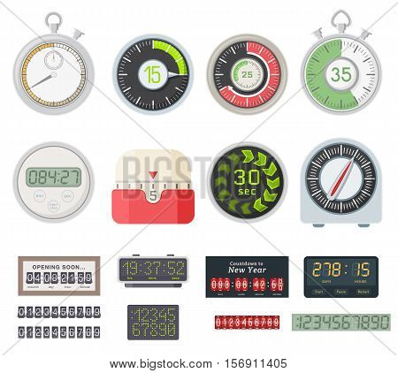 Timer clocks vector watch stopwatch symbol hour illustration. Time sign minute second design alarm chronometer. Chronometer isolated circle button timer clocks vector set.