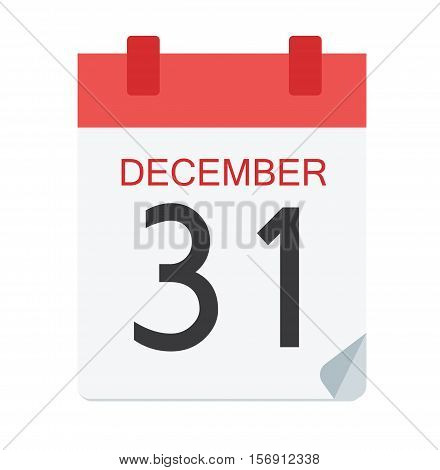 Colorful Calendar Icon Sign - Calendar 31 December For Logo, Banners, Templates, Internet Web Sites - Flat Vector Illustration Stock EPS