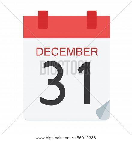Colorful Calendar Icon Sign - Calendar 31 December For Logo, Banners, Templates, Internet Web Sites - Flat Vector Illustration Stock EPS