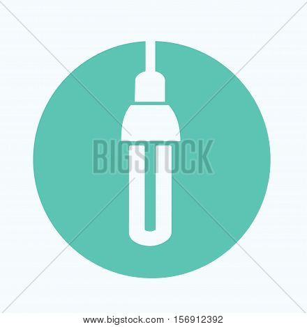Blue Light Bulb Circle Icon Vector Flat Illustration Stock
