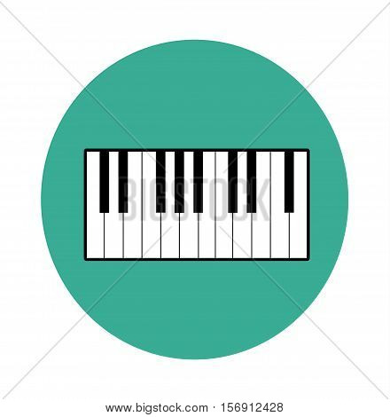 Piano Icon Musical Instrument Sign Isolated Flat Blue Circle Vector Stock