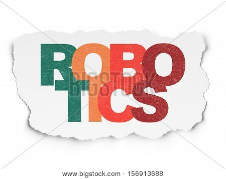 Science concept: Painted multicolor text Robotics on Torn Paper background