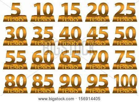 Set of gold numbers to mark the anniversary. Vector