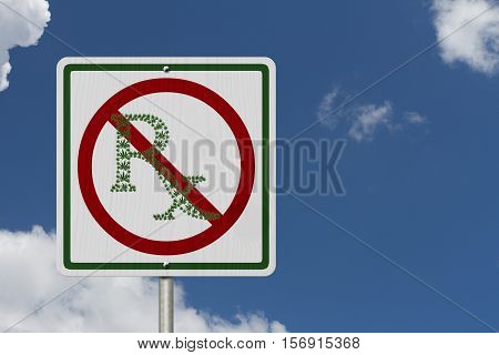 Driving Under the Influence of Marijuana A road highway sign with a prescription sign of marijuana leaf with sky background 3D Illustration