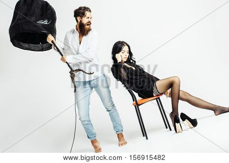 Sexy Couple On Chair With Lamp