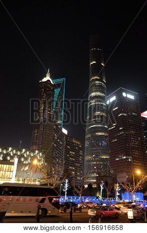 SHANGHAI - FEBRUARY 27: Shanghai world financial center skyscrapers in lujiazui group in Shanghai, China, February 27, 2016.