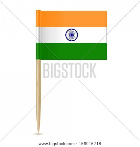 Flag of India toothpick on white background 10eps
