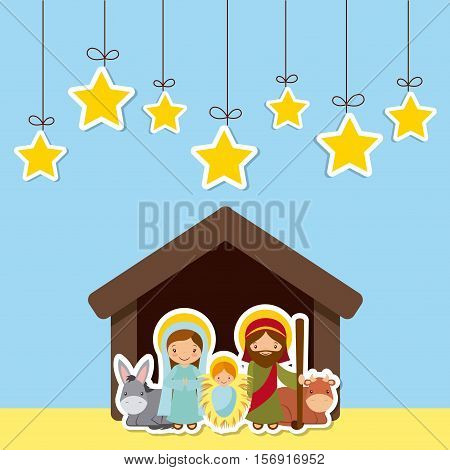 holy family in manger scene over blue background. colorful design. vector illustration