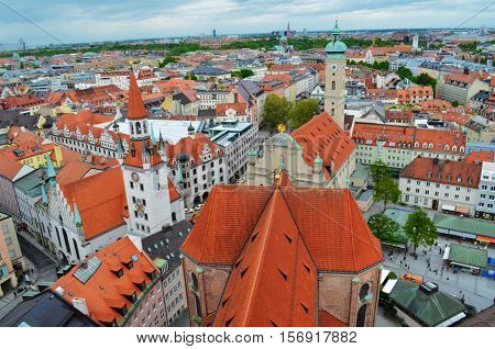 Panoramic view of the Old Town architecture of Munich Bavaria Germany