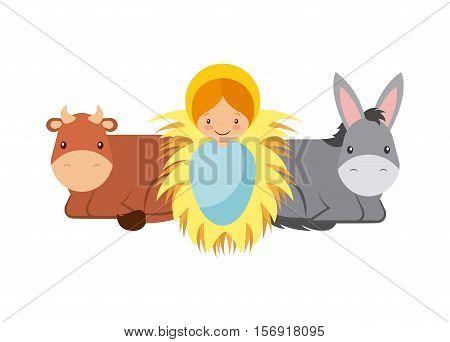 cute cartoon baby jesus with donkey and cow animals over white background. colorful design. vector illustration