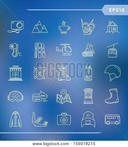 Ski resort outline icon collection. Ski resort vector set of Ski and Snowboard icons. Elements Ski resort.