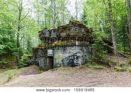 destroed pillbox defensive fortification of Mannerheim Line, Sk16 so-called Million fortress